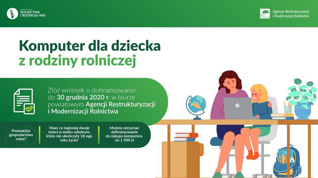 Obrazek przedstawiający matkę uczącą się z córką przy laptopie. Treść zawarta na banerze jest taka sama jak w informacji opisowej.