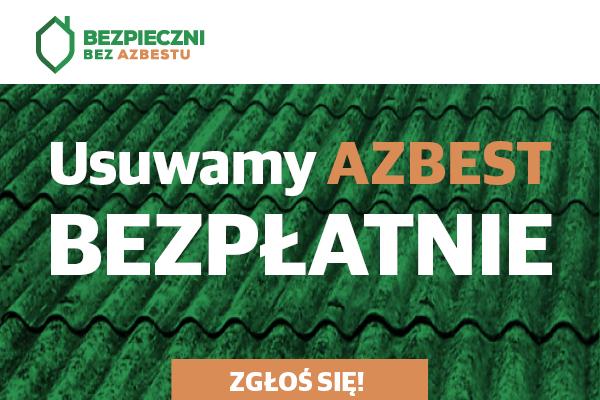 logo Bezpieczni bez azbestu, Usuwamy azbest bezpłatnie zgłoś się na tle zielonych płyt azbestowych