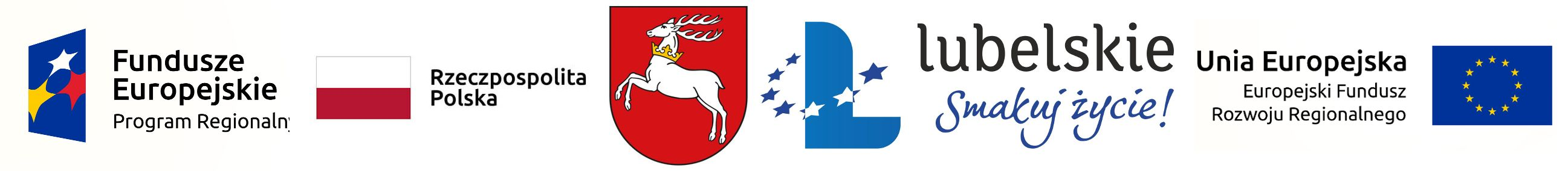 Loga Europejski Fundusz Rozwoju Regionalnego, Rzeczpospolita Polska, Herb oraz logo Województwa Lubelskiego, Unii Europejskiej